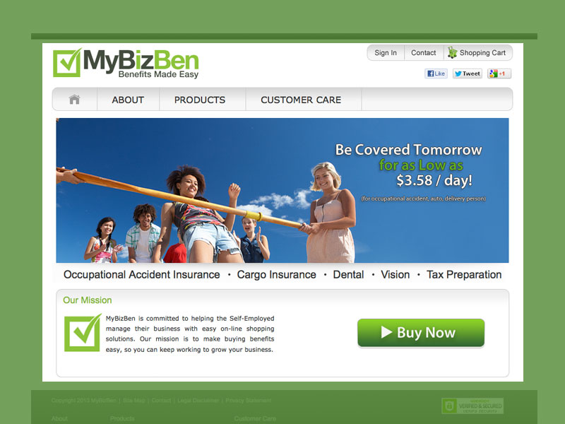 MyBizBen, e-commerce portal, simple insurance purchase web-site for a suite of products