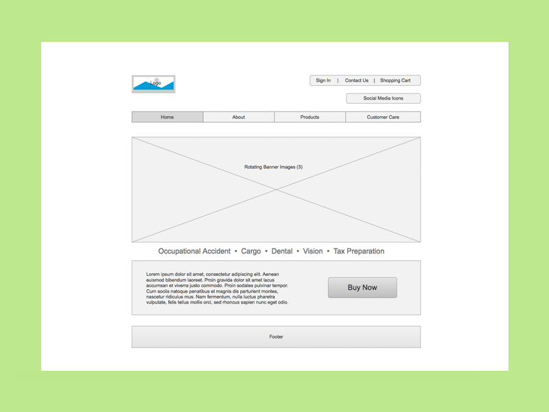 Wireframes created with Axure RP - Ecommerce Insurance Portal